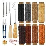 CHIFOOM 22stk Leder Nähen Werkzeug Wachsfaden Wachsgarn Gewachst Sattlergarn Ledernähset Hand Ledernadeln Nähzubehör für lederhandwerk DIY Sewing Craft Hand Nähen