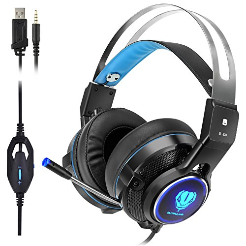 elekele Gaming Kopfhörer für PS4/Pro/Slim Nintendo Schalter Xbox One/X/S/PC Tablet Smartphone, 3,5mm Stereo Surround Leichtes Gaming Headset mit mit Mikrofon und LED-Licht Blau - Gesichts-licht-schalter