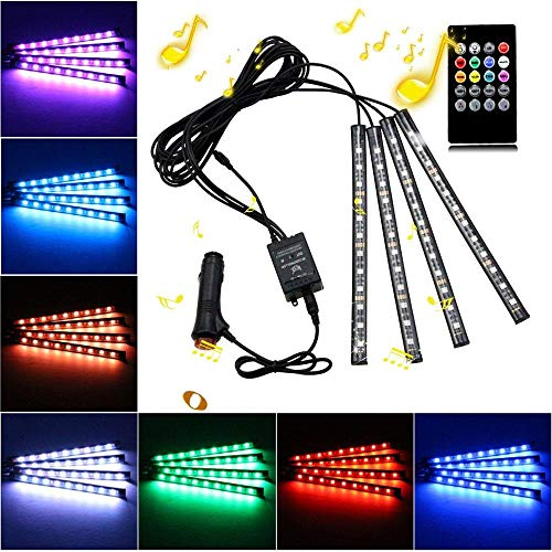 Eulan Footwell 12V Car Interior Lights, Car Strip Light, Footwell Lights, 4pcs 48 LED Multicolor Music Car Mood Lights Atmosphere Neon Lights Kit with Sound Active and Wireless Remote Control Led Car Pc