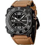 Infantry Herren Analog-Digital Armbanduhr Dual Chronograph Kalender Stoppuhr Alarm Outdoor Beleuchtung PU Leder Band