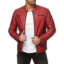 Hombres Chaqueta Cuero Sintético Transición Acanalada Moda Casuales Algodón Jacket