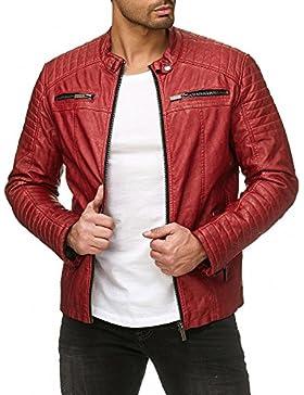 Red Bridge Hombres chaqueta de imitación de cuero de la chaqueta de cuero rojo tamaño XL
