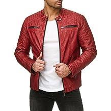 6f7bb8aaa9b63 Red Bridge Hombres Chaqueta Cuero Sintético Transición Acanalada Moda  Casuales Algodón Jacket