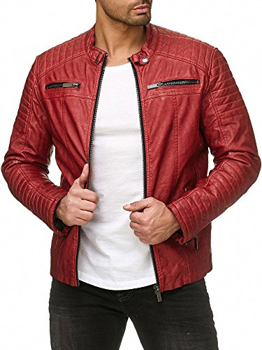 Red Bridge Herren Lederjacke Arif, Rot Gr. XL