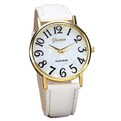 winwintom Retro Digital Dial banda de cuero reloj de pulsera Blanco