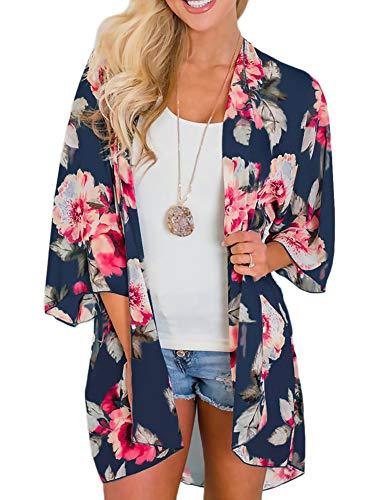 Damen Sheer Chiffon-Cardigan Halbe Hülse abdecken Blumen Kimono, Dunkel Blau, S -
