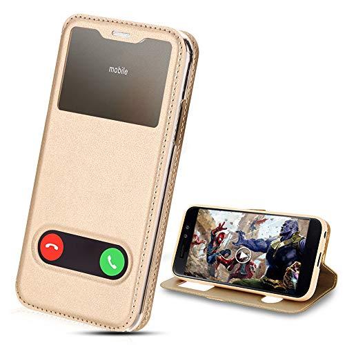 amsung Galaxy S7 Hülle mit Sicht-Fenster Window,Tasche Schutzhülle Flip Handy Case(Bracket-Video) Kompatibel mit Samsung Galaxy S7, Mehrere (Gold) ()