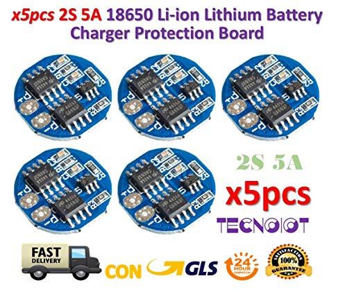 TECNOIOT 5pcs 2s 5a Li-ion litio lipo 7.4v 8.4v 18650 Charger Battery Protection Board Analog Circuit Pack