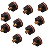 Non-Brand Quality 10 Pieces 12mm Screw On Replacement Tips For Pool Cue-Hard