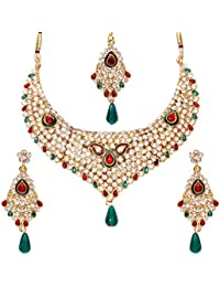 Jewels Gold Traditional Ethnic Gold Plated Funky Designer Stylish Necklace Set For Women & Girls