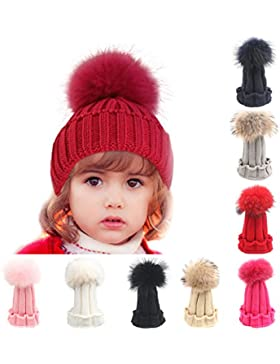 Butterme Il bambino scherza stile coreano inverno caldo lavorato a maglia Faux del cappello di pelliccia Pom Pom...