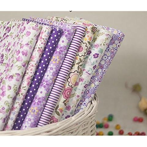 Pequeña Flor con diverso estilo de la tela de algodón Tela de costura que acolcha Bundle 8pcs color púrpura en tamaño 20 x 25