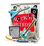 SOUND Pop Up 3D Karte Geburtstag Musik Rock`n Roll Gitarre 18x13cm