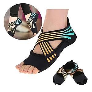 Yoga Socken Damen/Herren Anti Rutsch Non Slip Frauen, Yoga Pilates Socken Yoga Grip Socken mit Grips Non Slip Skid Dance Trainingsschuhe mit Zehen für Pilates Ballett Barre Studio Bikram Männer Frauen