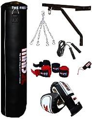 MADX Box-Set, 1Paar Boxhandschuhe, 1Springseil, 1Boxsack gefüllt, schwer, 1,22m, Schwarz/Blau, Wandaufhängung und Kette, 7-teilig