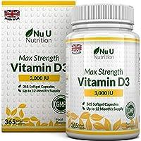 Vitamin D 3000 IU 365 Softgels (Full Year Supply) | Triple Strength Vitamin D3 Supplement | High Absorption Cholecalciferol | Gluten & Dairy Free by Nu U Nutrition