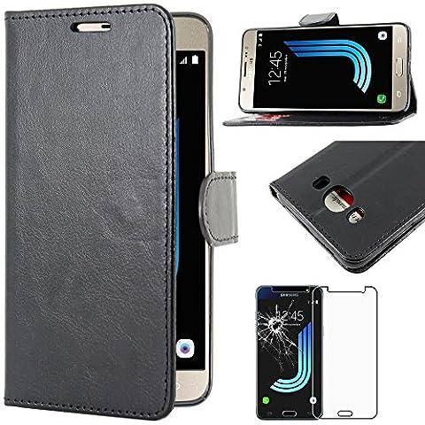 ebestStar - pour Samsung Galaxy J5 2016 SM-J510F - Housse Coque Etui Portefeuille Support PU Cuir + Film protection écran en VERRE Trempé, Couleur Noir [Dimensions PRECISES de votre appareil : 145.8 x 72.3 x 8.1 mm, écran 5.2'']