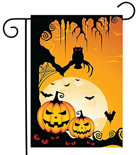 Pumpkin Owl Halloween Funny Garden Yard Flag Double Sided, Creepy Autumn Moon Yellow Bat Polyester Welcome House Flag Banners for Patio Lawn Outdoor Home Decor Size: 12.5-inches W X 18-inches H