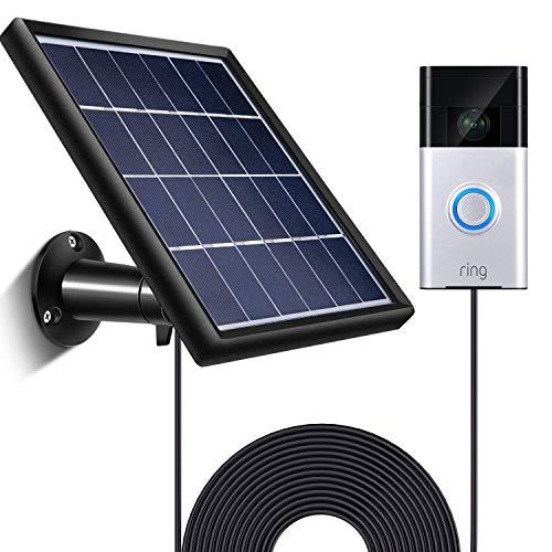 SATINIOR Solarmodul für Ring Video Türklingel 1, wasserdichte Ladung, 5 V/ 3,5 W (Max.) Ausgang, inklusive Wandhalterung, 3,6 m/ 12 ft Stromkabel (Keine Kamera Enthalten)