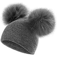 082bc9d4b1de Vertvie Enfant Unisex Bonnet Chapeau Tricoté Mignon avec Fausse Fourrure  Pompon Chapeau Beanie Hiver Chaud
