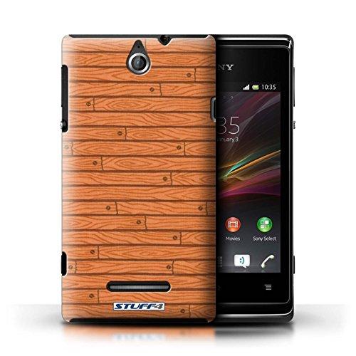 Kobalt® Imprimé Etui / Coque pour Sony Xperia E / Rose conception / Série Motif Bois Orange