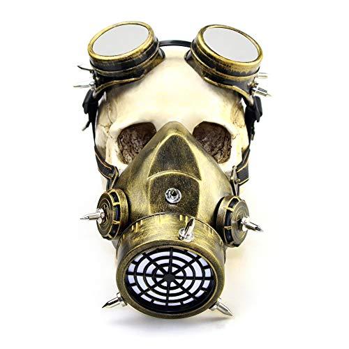 XC Steampunk Retro Windschutzscheibe Gasmaske, Halloween-Rolle Spielen Lustige Party-Maske Geschenk, Plastik + Harz, Altes Gold