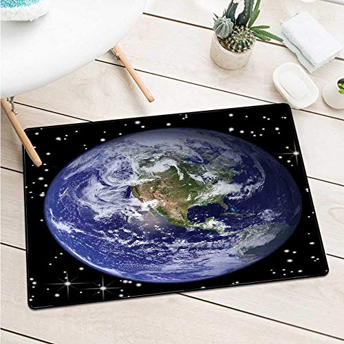 Kinhevao EarthNorth America Sterne und der Mond von einem Astronautenauge Galaxy Outer Space Theme Fußmatte Bodendekoration Schwarz Blau Grün Badematte