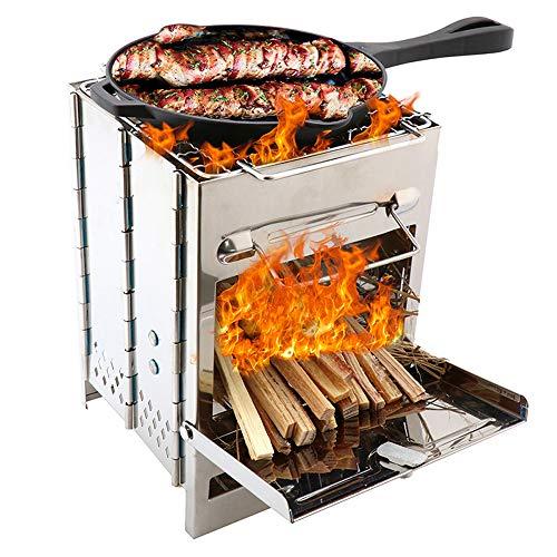 Lixada Edelstahl Kohlegrill Falten Holzofen Mini BBQ Grill mit Tragen Tasche für Backpacking Wandern Camping Kochen