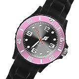 Taffstyle Damen Herren Sportuhr Armbanduhr Silikon Sport Watch Farbige Krone Analog Quarz Uhr 48mm XXL Schwarz Rosa
