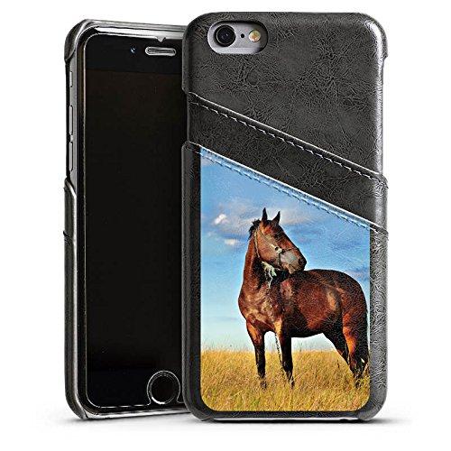 Apple iPhone 4 Housse Étui Protection Coque Cheval Jument Étalon Étui en cuir gris