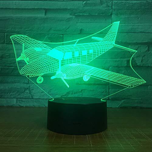 3D Illusion Flugzeug nachtlicht Touch Schalter 7 Farbwechsel Flugzeug Stimmung Lampe Schreibtisch Tisch Atmosphäre Lampe Für Wohnkultur Geschenk ## 9 - Chrom-vorschaltgerät