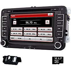 Eincar 7 inch Double Din In Dash Car Stereo for VW Volkswagen Golf Passat Polo Jetta Tiguan EOS Touran Scirocco Skoda Seat with DVD Player Multimedia System Support GPS Navigation USB SD FM AM RDS Radio Bluetooth Wheel Control Reverse Camera