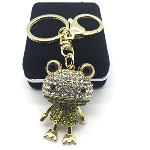 Portachiavi, gioiello da borsetta con strass, a forma di ranocchia, colore: dorato