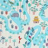 Cremefarbener Stoff mit Fluss Hütte Wald Elefant Krokodil