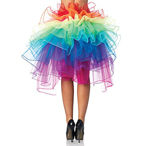 BOBORA Donna Lace up Tutu Organza ballo gonna partito arcobaleno