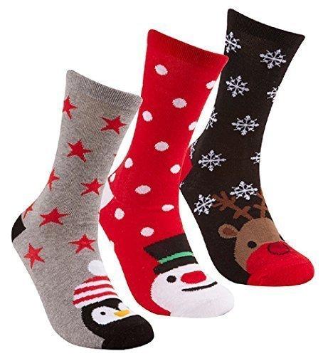 Uomo / Donna Confezione Da 3 of Christmas / Natale calzini novità ~ Pinguino Babbo (Babbo Neve Natale)