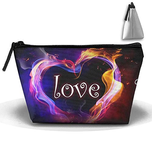 Toiletry Pouch Makeup Bag I Love You Colorful Smoking Trapezoidal Portable Cosmetic Storage Travel Bag -