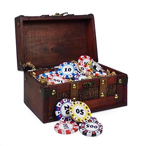 Schokoladen-Geschenk in einer Schmuckstück-Aufbewahrungstruhe mit köstlicher Casino-Chip-Schokolade - Perfekte Geschenkidee für Weihnachten, Geburtstag, Papa, Opa, Ihn (Schokolade-chip-geschenk-korb)