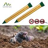 Gardigo Maulwurfabwehr Vibrasonic 2er Set | mit Vibrations-Motor | Batteriebetrieben | Maulwurfschreck | Wühlmausschreck | Maulwurfvertreiber | vertreibt auch Ameisen und Schlangen