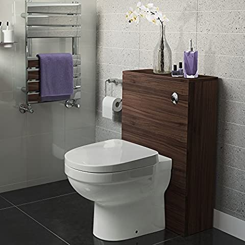 500mm Walnut Back To Wall WC Unit Cabinet Bathroom Furniture + White Toilet