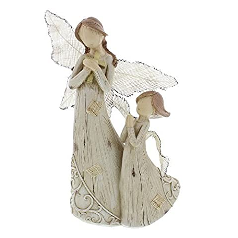 Wood Carved Angels Mother and Child Praying
