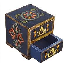 Store Indya,, cofre de madera de 2 cajones Pequeño joyero de recuerdo Maquillaje Organizador