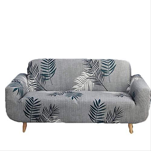 Dyb&home fodera per divano copridivano elasticizzato 1/2/3/4 posti, lavabile in lavatrice, foglie grigie, tessuto protettivo in tessuto jacquard poliestere