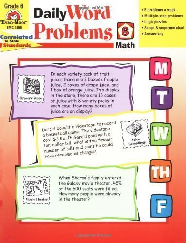 Daily Word Problems, Grade 6 by Tuttle, Amy Beth Published by Evan-Moor Educational Publishers (2001) Paperback