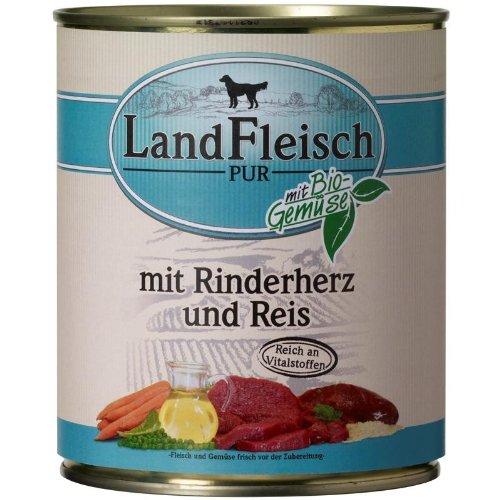 Landfleisch Pur Rinderherzen & Reis | 6x 800g Hundenassfutter