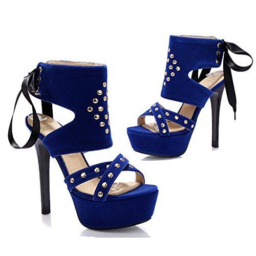 COOLCEPT Damen Mode Ankle Wrap Sandalen Schnurung Stiletto Peep Toe Plateau Slingback Schuhe Blau