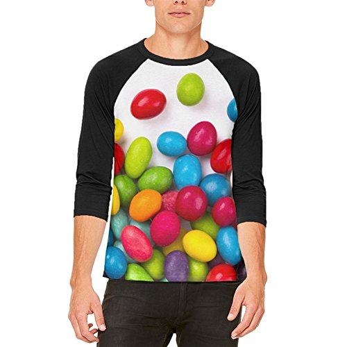 Halloween-Jelly Beans Mens Raglan-T-Shirt White