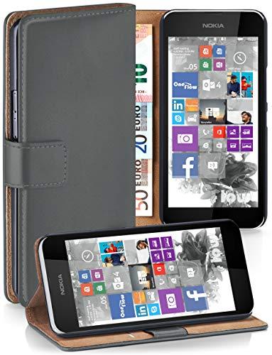 moex® Booklet mit Flip Funktion [360 Grad Voll-Schutz] für Nokia Lumia 530 | Geldfach und Kartenfach + Stand-Funktion und Magnet-Verschluss, Dunkel-Grau (Lumia530 Dual-sim)