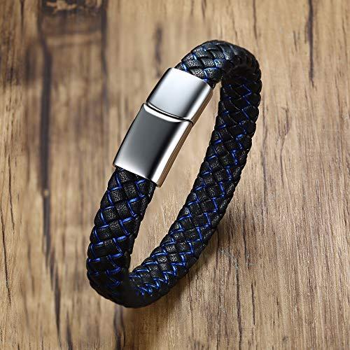 XIAOHA Herrenarmband Dünne Blaue Linie Zweifarbig Schwarz Geflochtenes Lederarmband Armband Für Männer Edelstahl Magnetverschluss Braslet Männerschmuck