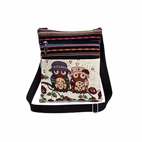 Longra Damen Bestickte Eule Tragetaschen Frauen Schultertasche Handtaschen Postbote Paket Umhängetasche Messenger Tasche (C) (Bestickte Schultertasche)